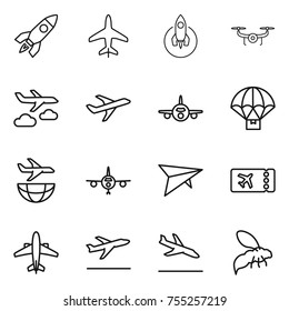 thin line icon set : rocket, plane, drone, journey, parachute delivery, shipping, deltaplane, ticket, airplane, departure, arrival, wasp