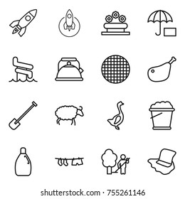 thin line icon set : rocket, flower bed, insurance, aquapark, kettle, sieve, chicken leg, shovel, sheep, goose, foam bucket, cleanser, drying clothe, garden cleaning, floor washing