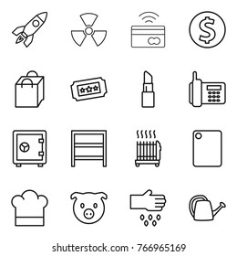 Thin line icon set : rocket, nuclear, tap to pay, dollar coin, shopping bag, ticket, lipstick, phone, safe, rack, radiator, cutting board, cook hat, pig, sow, watering can
