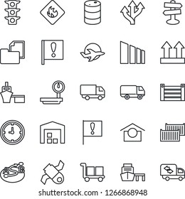 Thin Line Icon Set - route vector, signpost, important flag, plane, satellite, traffic light, cargo container, car delivery, clock, sea port, folder document, warehouse storage, up side sign, moving