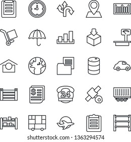 Thin Line Icon Set - route vector, earth, pin, plane, satellite, 24 hours, truck trailer, car delivery, clock, receipt, container, consolidated cargo, clipboard, folder document, umbrella, package