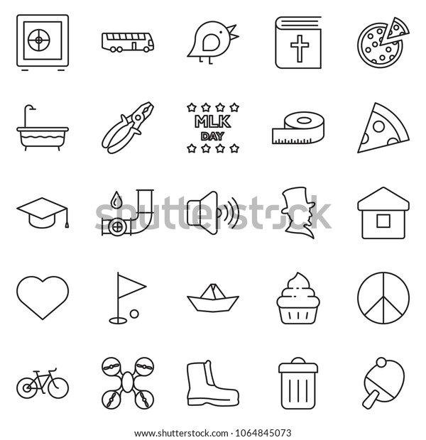 Thin Line Icon Set Safe Vector Stock Vector (Royalty Free