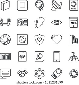 Thin Line Icon Set - satellite antenna vector, passport, plane globe, mobile phone, office building, document search, heart, shield, eye, barcode, route, stop button, message, camera, settings