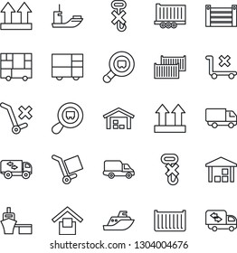 Thin Line Icon Set - sea shipping vector, truck trailer, cargo container, car delivery, port, consolidated, warehouse storage, up side sign, no trolley, hook, search, moving