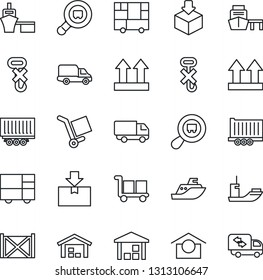 Thin Line Icon Set - sea shipping vector, truck trailer, car delivery, port, container, consolidated cargo, warehouse storage, up side sign, no hook, package, search, moving