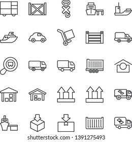 Thin Line Icon Set - sea shipping vector, truck trailer, cargo container, car delivery, port, consolidated, warehouse storage, up side sign, no hook, package, search, moving