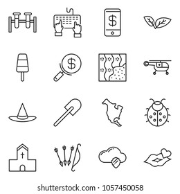 thin line icon set - search money vector, keyboard hand, phone wallet, cloud shield, wallpaper, ice cream, lady bug, church, witch hat, leaf, north america, medical helicopter, vial, shovel, kiss