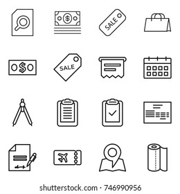 thin line icon set : search document, money, sale, shopping bag, label, atm receipt, calendar, drawing compasses, clipboard, check, invoice, inventory, ticket, map, paper towel