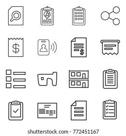 Thin line icon set : search document, report, clipboard, share, receipt, pass card, account balance, atm, list, slum, modular house, check, invoice