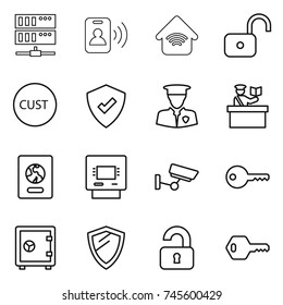 thin line icon set : server, pass card, wireless home, unlock, customs, protected, security man, inspector, passport, atm, surveillance, key, safe, shield, unlocked