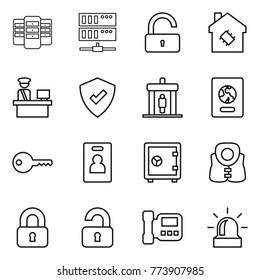 Thin line icon set : server, unlock, smart house, customs control, protected, detector, passport, key, identity card, safe, life vest, locked, unlocked, intercome, alarm