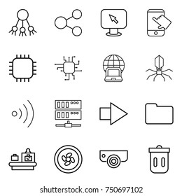 thin line icon set : share, monitor arrow, touch, chip, notebook globe, virus, wireless, server, right, documents, baggage checking, cooler fan, surveillance camera, trash bin