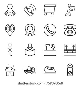 Thin line icon set : share, call, delivery, courier, dollar pin, medal, phone, do not hook sign, package, repair tools, skysrcapers cleaning, house, home, iron, distrub