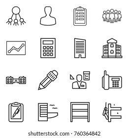 Thin line icon set : share, man, clipboard, team, statistics, calculator, skyscraper, building, school, pencil, architector, phone, pen, hotel, rack, skyscrapers cleaning