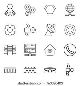 Thin line icon set : share, gear, hex molecule, globe connect, satellite, antenna, round around, server, wireless home, phone, bridge