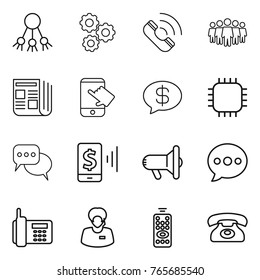 Thin line icon set : share, gear, call, team, newspaper, touch, money message, chip, discussion, mobile pay, megafon, balloon, phone, support manager, remote control