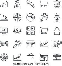 Thin Line Icon Set - shop vector, checkroom, money bag, crisis graph, store, monitor statistics, pie, hr, target, consumer search, arrow up, wallet, growth, cart, presentation, storefront
