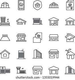 Thin Line Icon Set - shop vector, airport building, office, greenhouse, hospital, warehouse, house, with garage, estate document, city, insurance, cafe, eco, home control app, warm floor, gate