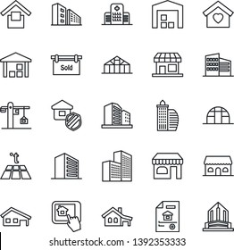 Thin Line Icon Set - shop vector, office building, greenhouse, hospital, warehouse storage, house with garage, estate document, sold signboard, sweet home, crane, insurance, cafe, control app