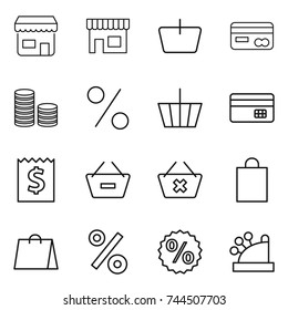 thin line icon set : shop, basket, card, coin stack, percent, credit, receipt, remove from, delete cart, shopping bag, cashbox