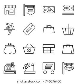 thin line icon set : shop, signboard, money, 24 7, sale, shopping bag, basket, purse, delete cart, market, cashbox, delivery, store