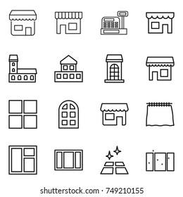 thin line icon set : shop, cashbox, mansion, cottage, building, window, arch, curtain, clean floor