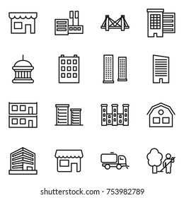 thin line icon set : shop, store, bridge, houses, goverment house, building, skyscrapers, skyscraper, modular, district, palace, office, sweeper, garden cleaning