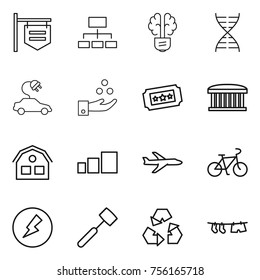 Thin line icon set : shop signboard, hierarchy, bulb brain, dna, electric car, chemical industry, ticket, airport building, house, sorting, plane, bike, electricity, meat hammer, recycling