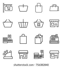 Thin line icon set : shop signboard, basket, shopping bag, delete cart, store, cashbox, mall