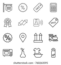 Thin line icon set : shop signboard, percent, sale, calculator, medal, up down arrow, pass card, label, geo pin, cargo top sign, train, grill oven, pear, handle washing, please clean