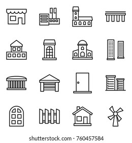 Thin line icon set : shop, store, mansion, bridge, cottage, building, skyscrapers, airport, garage, door, district, arch window, fence, home, windmill