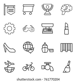 Thin line icon set : shop signboard, delivery, trophy, brain, gear, smart glasses, market scales, lipstick, shoes, port, bar code, plane shipping, bike, water tap, broom