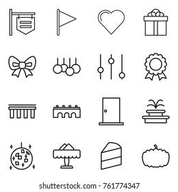 Thin line icon set : shop signboard, flag, heart, gift, bow, sale, equalizer, medal, bridge, door, fountain, disco ball, restaurant, cake, pumpkin