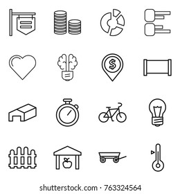 Thin line icon set : shop signboard, coin stack, circle diagram, heart, bulb brain, dollar pin, fence, warehouse, stopwatch, bike, trailer, thermometer