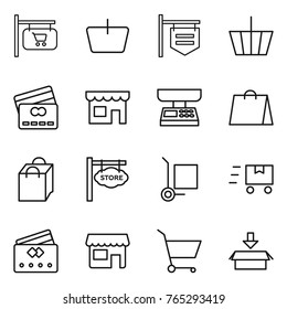 Thin line icon set : shop signboard, basket, credit card, market scales, shopping bag, store, cargo stoller, fast deliver, cart, package