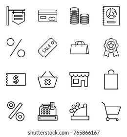 Thin line icon set : shop signboard, card, coin stack, annual report, percent, sale, shopping bag, medal, receipt, delete cart, cashbox
