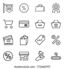 Thin line icon set : shop signboard, percent, shopping bag, medal, cart, credit card, remove from basket, delete, sale label, real estate, hanger