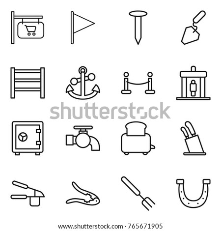 Thin Line Icon Set Shop Signboard Stock Vector Royalty Free