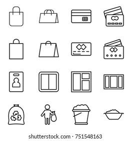 thin line icon set : shopping bag, credit card, identity, power switch, window, garbage, trash, foam bucket, basin