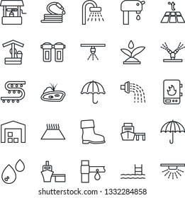 Thin Line Icon Set - shower vector, watering, boot, well, hose, drip irrigation, sea port, umbrella, pond, pool, water supply, warehouse, heater, filter, warm floor, sprinkler