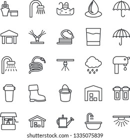 Thin Line Icon Set - shower vector, watering can, bucket, boot, water drop, rain, well, hose, sea port, umbrella, warehouse, pool, supply, bathroom, drink, irrigation, filter, sprinkler