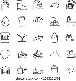 Thin Line Icon Set - shower vector, watering can, bucket, boot, water drop, rain, well, hose, sea shipping, port, umbrella, warehouse, pond, pool, supply, bathroom, irrigation, filter, warm floor