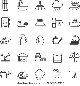 Thin Line Icon Set - shower vector, watering can, water drop, rain, hose, drip irrigation, sea shipping, port, umbrella, warehouse, pond, pool, supply, bathroom, drink, heater, warm floor, sprinkler