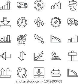 Thin Line Icon Set - signpost vector, left arrow, growth statistic, crisis graph, route, navigation, up side sign, sorting, update, data exchange, download, compass, bar, moving, target, clock