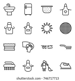 thin line icon set : sink, fridge, colander, apron, gas oven, sieve, sponge, wiping, drying clothe, brush, brooming, iron