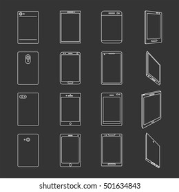 Thin line icon set smart-phone