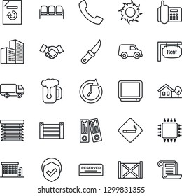 Thin Line Icon Set - smoking place vector, waiting area, handshake, office binder, document reload, sun, garden knife, phone, car delivery, container, shield, tv, call, building, house with tree