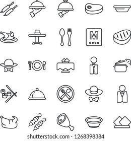 Thin Line Icon Set - spoon and fork vector, waiter, dish, restaurant table, cafe, menu, dress code, chicken, steak, kebab, ham, bowl, steaming pan, sushi, serviette