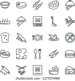 Thin Line Icon Set - spoon and fork vector, cafe, menu, salad, waiter, bread, chicken, steak, kebab, hamburger, ladle, bowl, rolling pin, sushi, cheese