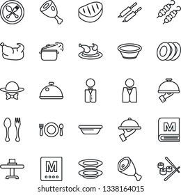 Thin Line Icon Set - spoon and fork vector, waiter, dish, restaurant table, cafe, menu, plates, dress code, chicken, steak, kebab, ham, bowl, steaming pan, sushi